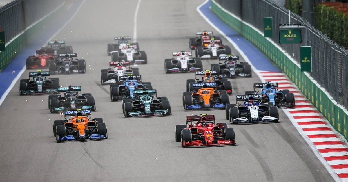 Carlos Sainz leads into the first corner of the 2021 Russian GP. Sochi September 2021.