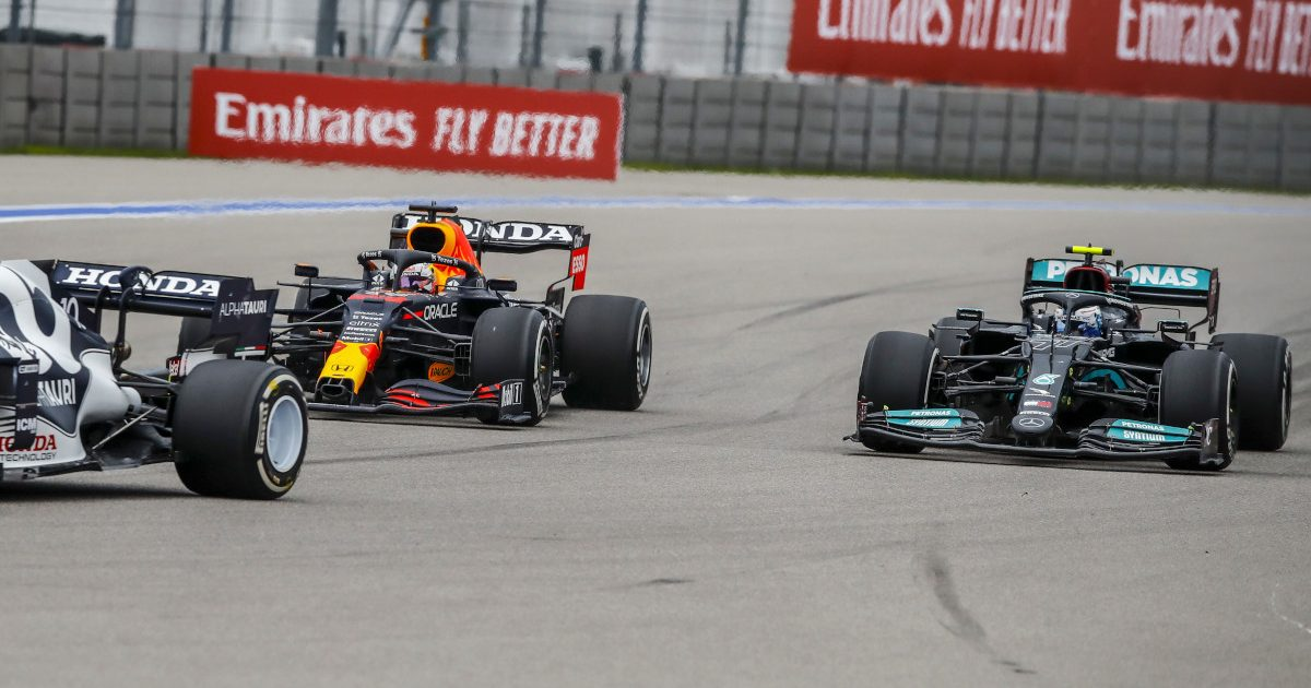 Max Verstappen passes Valtteri Bottas. Russia September 2021