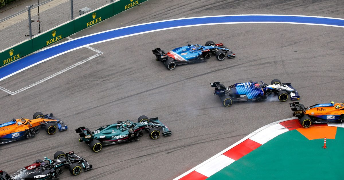 Fernando Alonso goes straight on. Russia September 2021