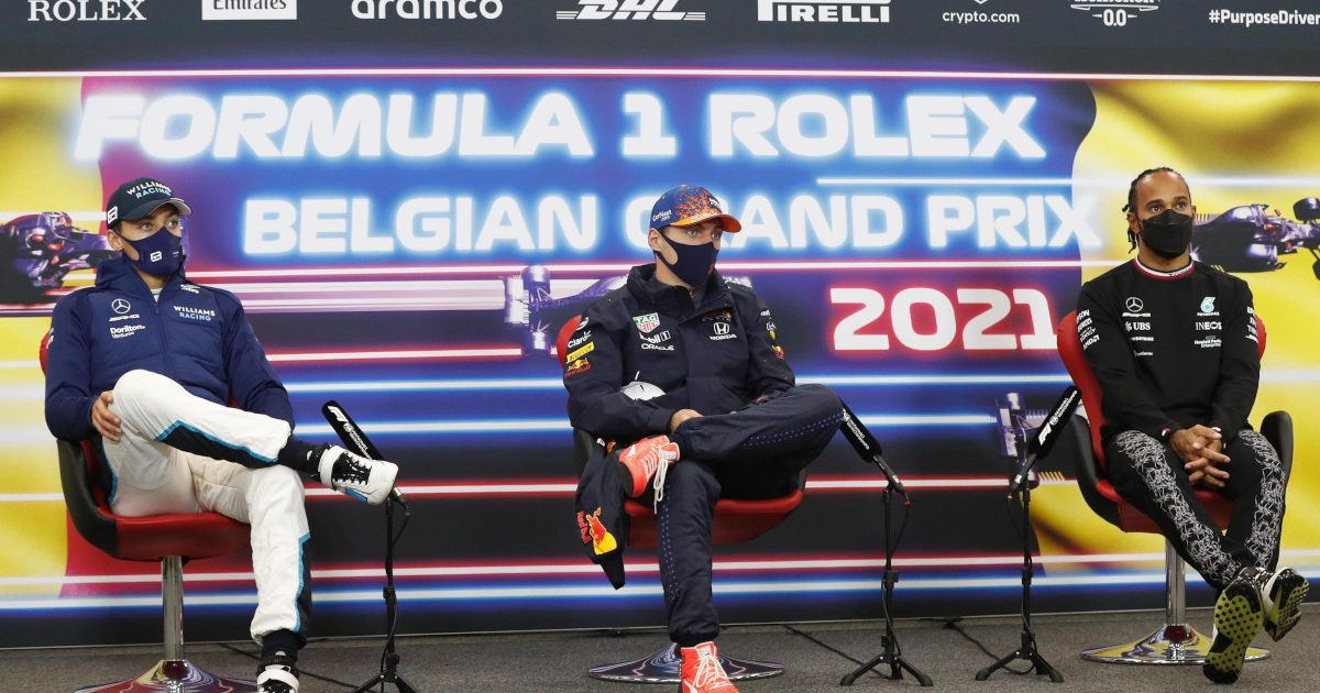 George Russell Max Verstappen Lewis Hamilton press conference. Belgium August 2021