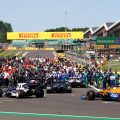 Cars arrive on the grid at the Formula 1 British GP. Silverstone July 2021.