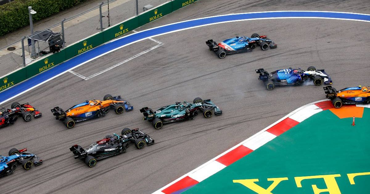 Cars enter the first braking zone of the Russian GP. Sochi September 2021.