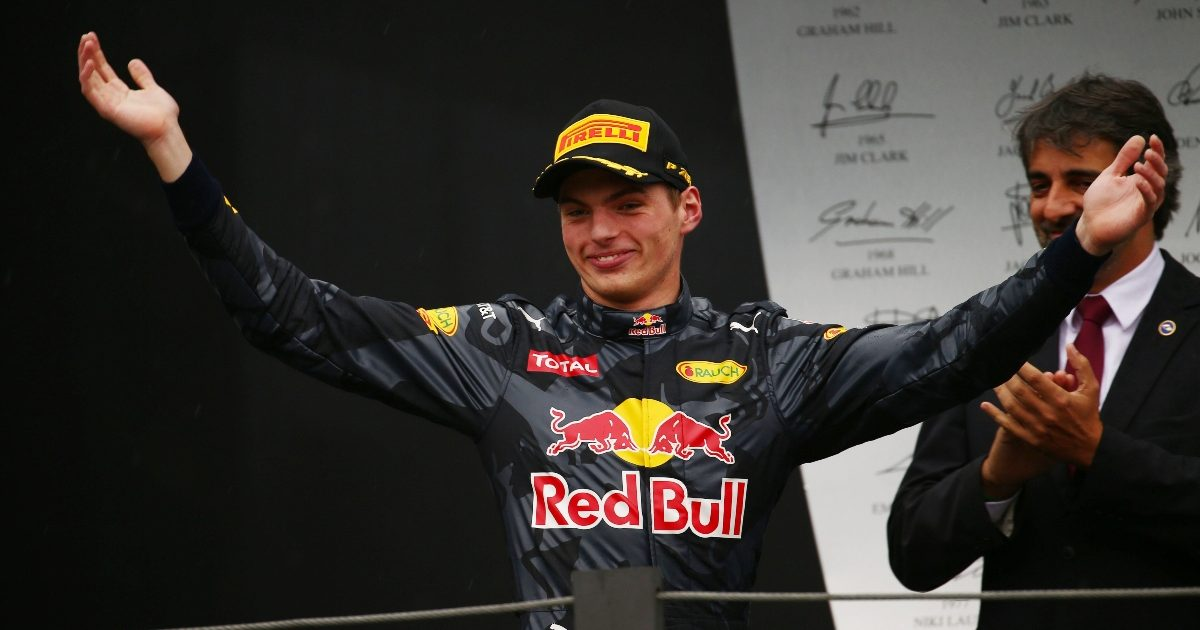 Max Verstappen on the podium at the Brazilian Grand Prix. Brazil November 2016