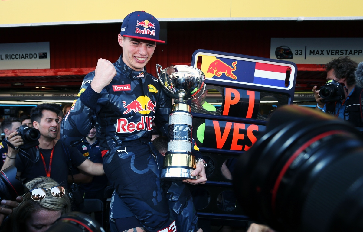 Max Verstappen celebrates after winning his first race. Spain May 2016