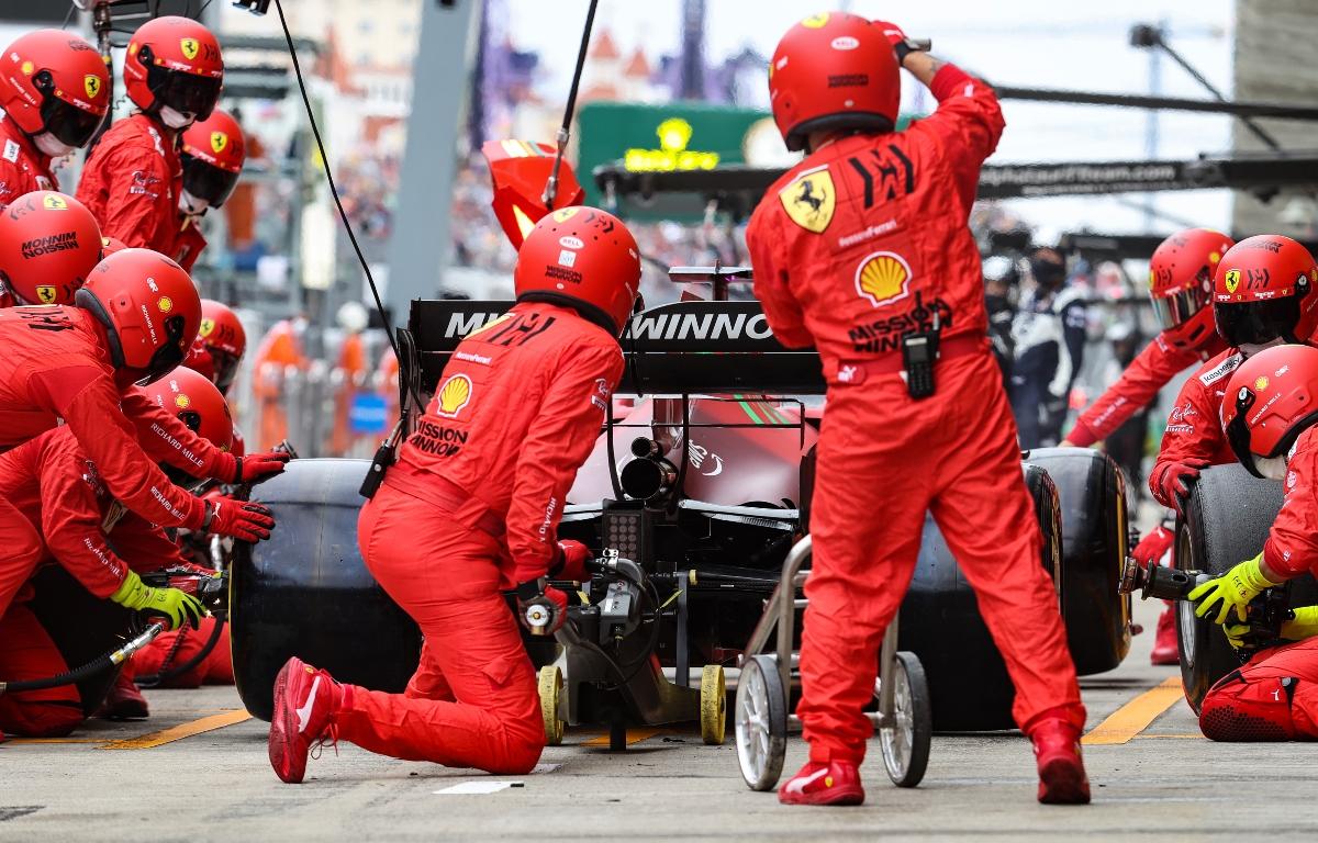 Charles Leclerc pitting at Sochi. Russia September 2021