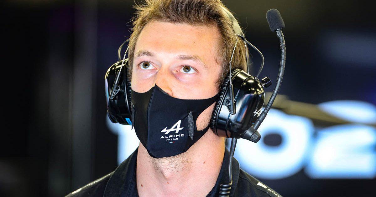 Daniil Kvyat in the Alpine garage.