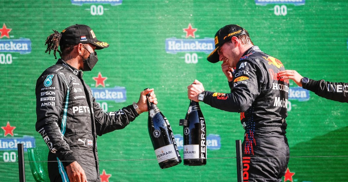 Max Verstappen and Lewis Hamilton at Zandvoort . Netherlands September 2021