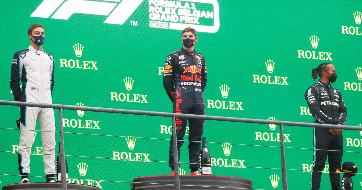 Max Verstappen, George Russell and Lewis Hamilton on the Spa podium. Belgium August 2021