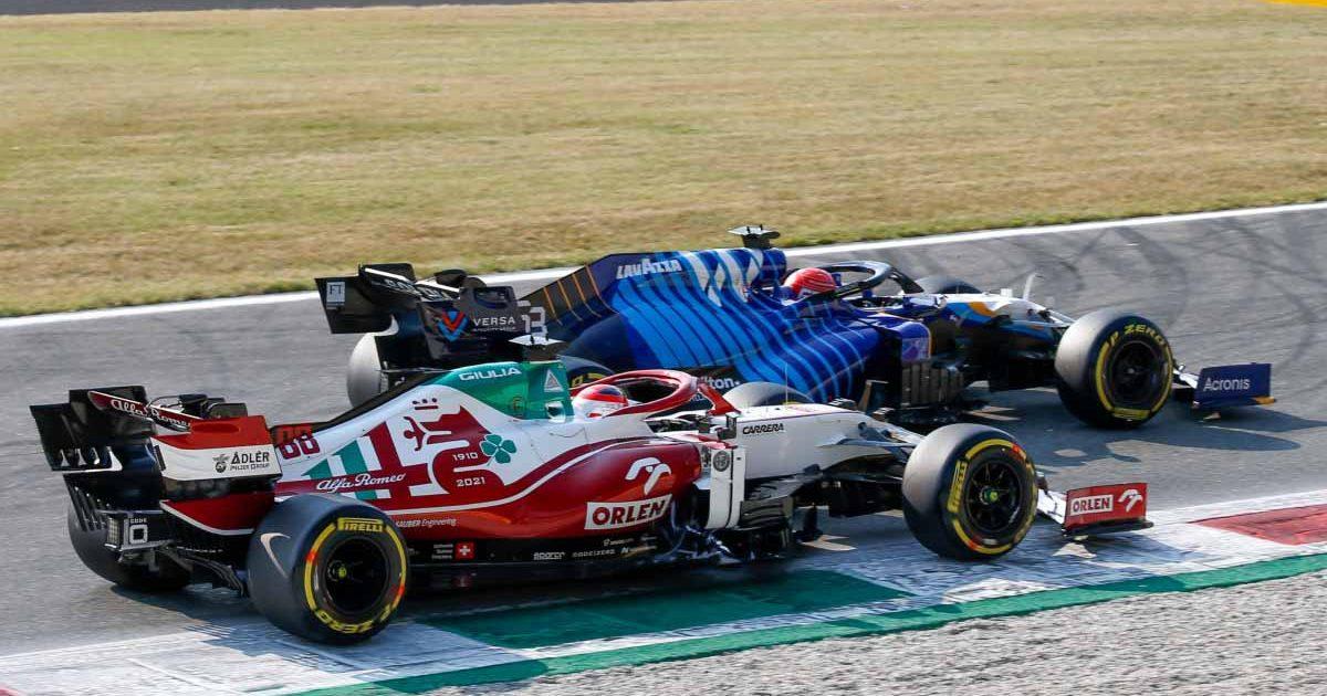 Williams' George Russell and Alfa Romeo's Antonio Giovinazzi at the 2021 Italian GP.