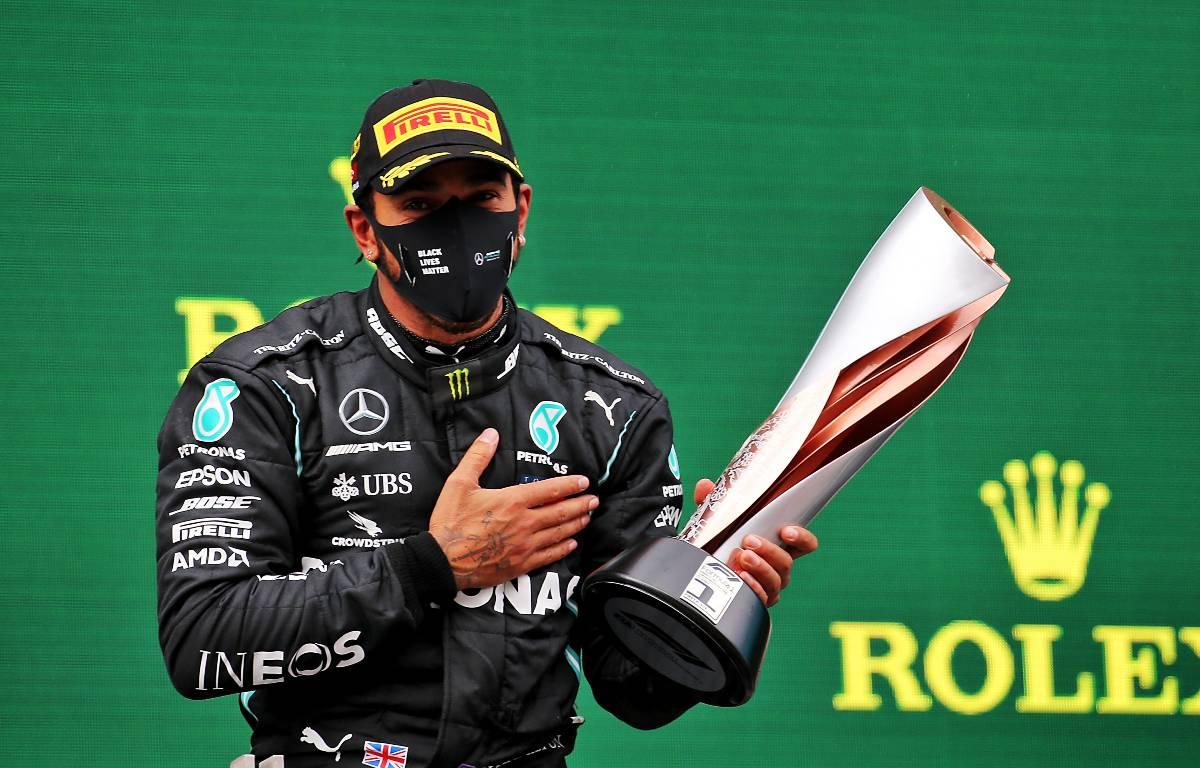 Lewis Hamilton celebrates his victory in Turkey. November 2020.