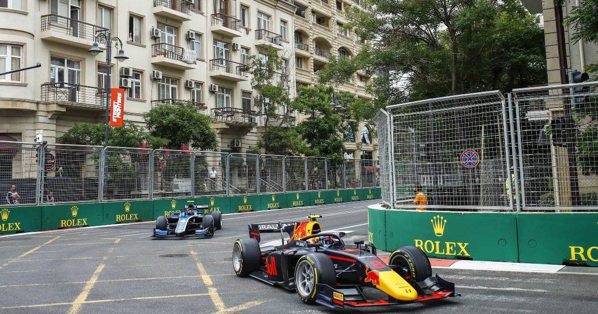 Juri Vips ahead of Felipe Drugovich in an F2 race. Baku June 2021.