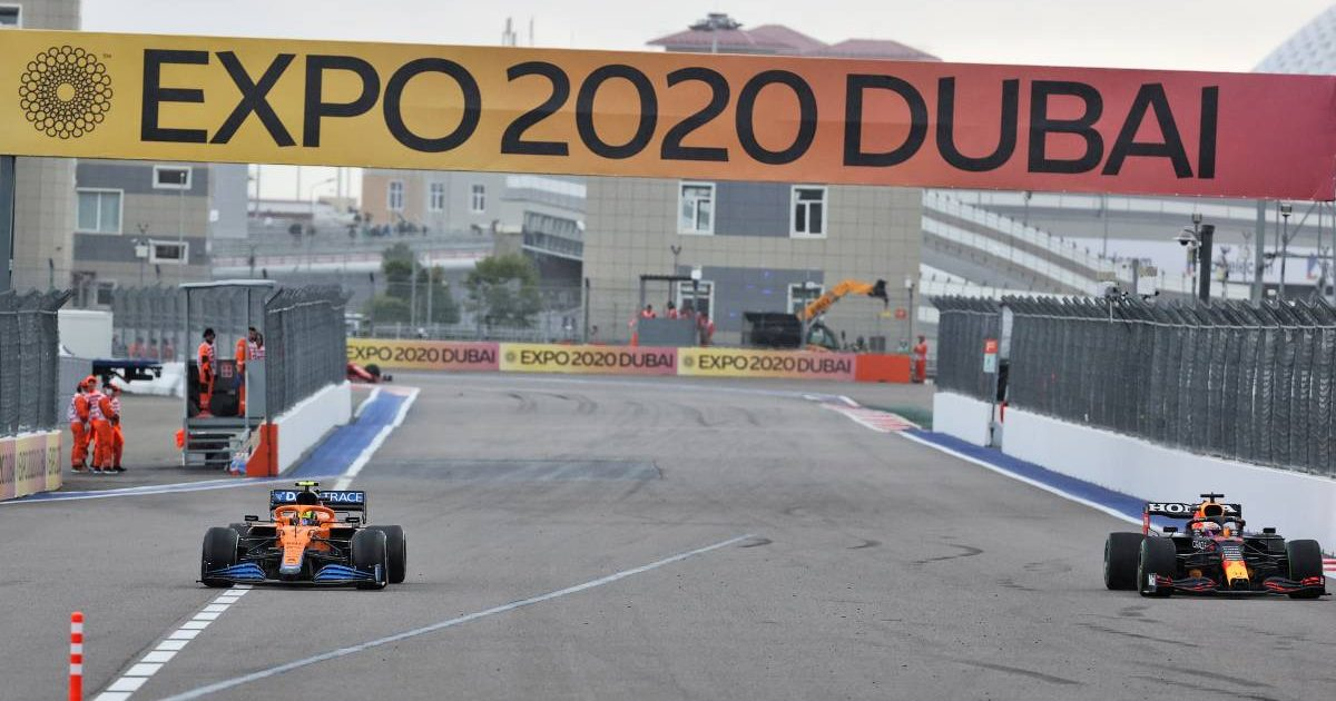 Lando Norris enters the pits during the Russian GP. Sochi September 2021.