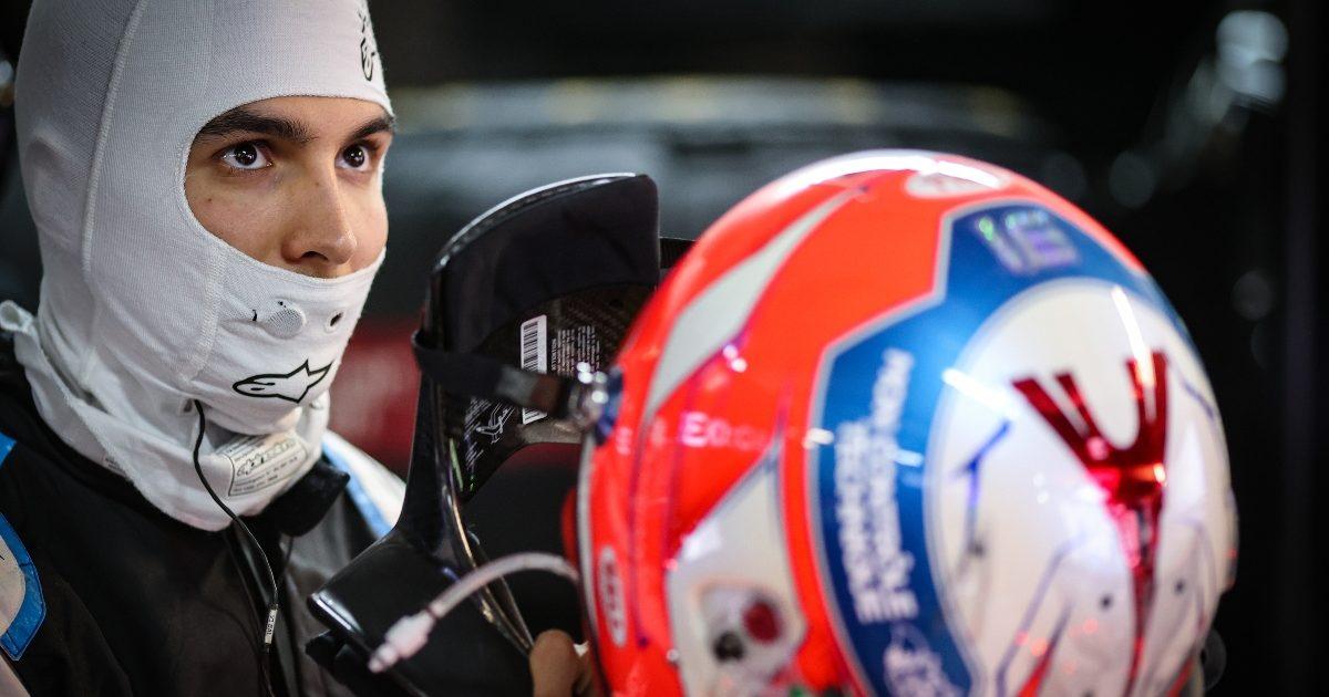 Esteban Ocon in the garage at Sochi. Russia September 2021