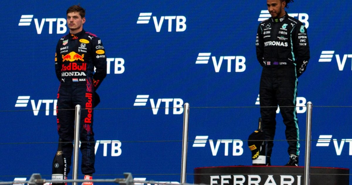 Max Verstappen and Lewis Hamilton on the podium at Sochi. Russia September 2021