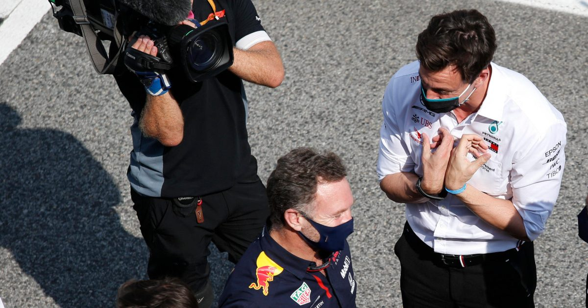 Toto Wolff imploring Christian Horner. Spain August 2021