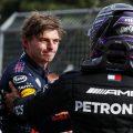 Max Verstappen congratulates Lewis Hamilton. Italy April 2021