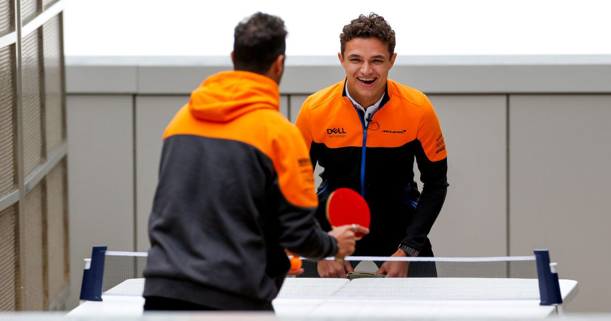 McLaren drivers Daniel Ricciardo and Lando Norris play table tennis.