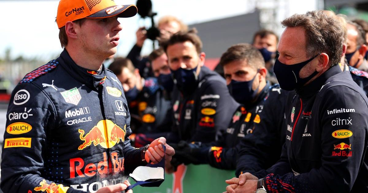 Christian Horner talks to Max Verstappen after the Portuguese GP. Portimao May 2021.
