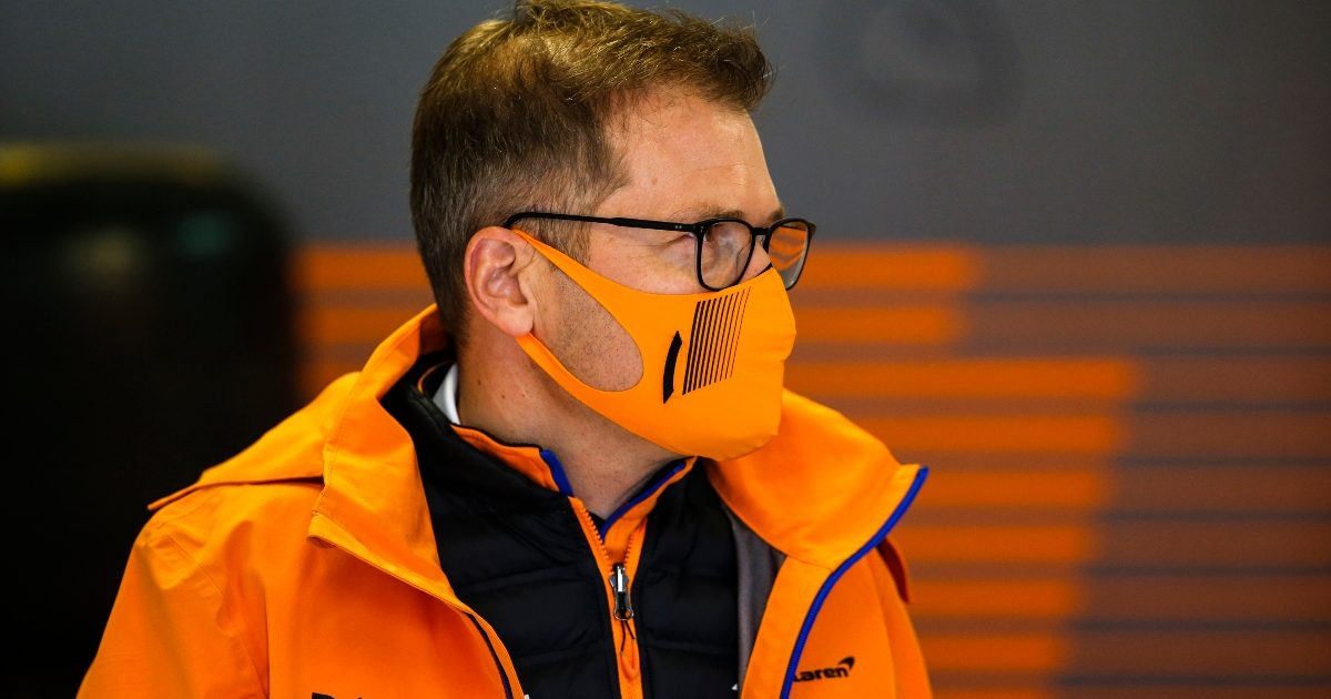 Andreas Seidl in the McLaren garage at Sochi. Russia September 2021