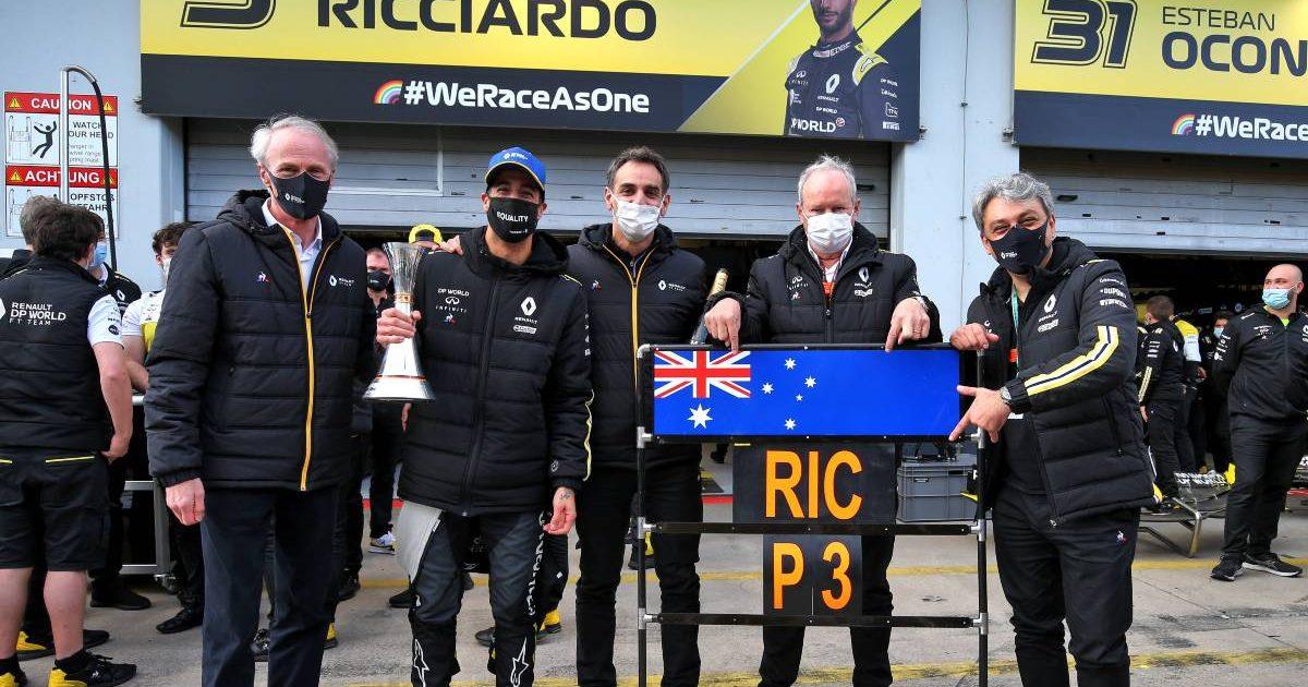 Renault celebrate Daniel Ricciardo's podium finish in the Eifel GP. Nurburgring October 2019.