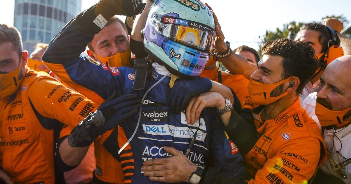 McLaren celebrate after winning. Italy September 2021