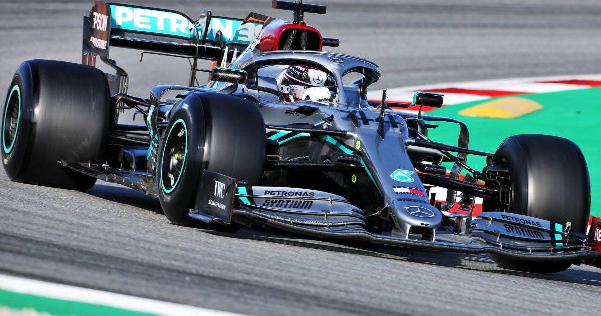 Lewis Hamilton driving silver Mercedes in pre-season testing. Barcelona February 2020.