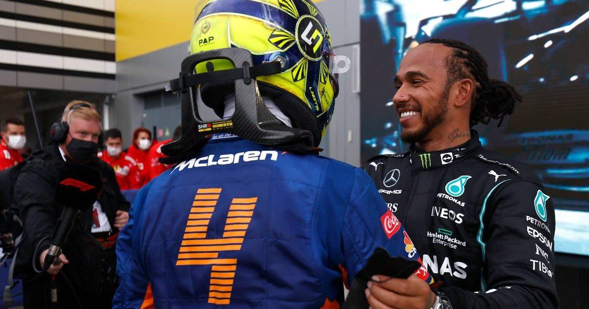 Lewis Hamilton embraces Lando Norris after the Russian GP. Sochi September 2021.