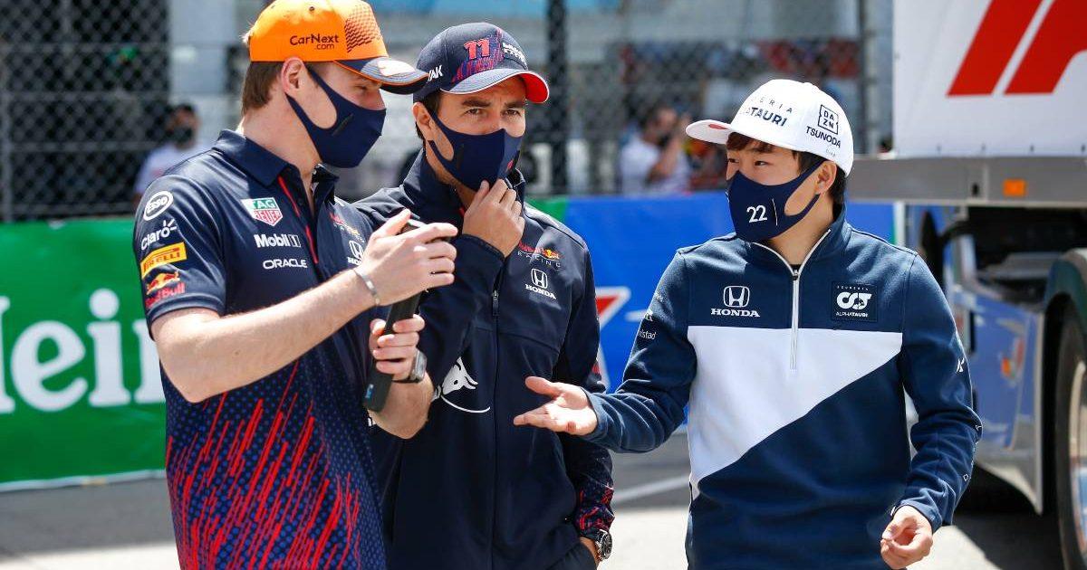 Yuki Tsunoda and Max Verstappen talking at the Monaco GP. Monte Carlo May 2021.