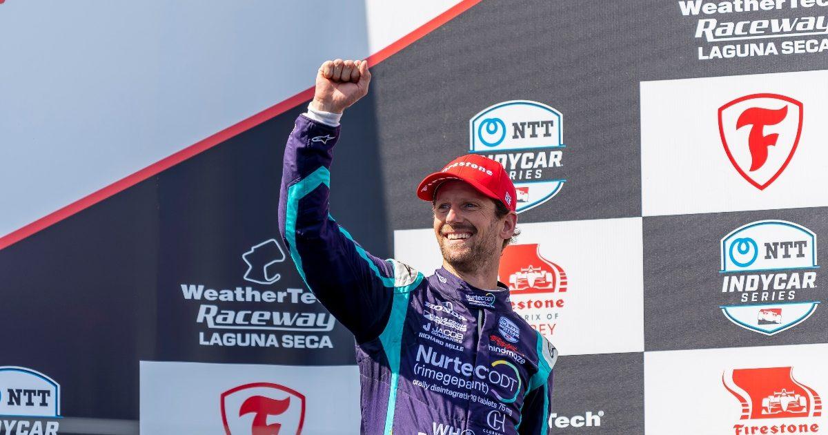 Romain Grosjean on the podium at Laguna Seca. USA September 2021