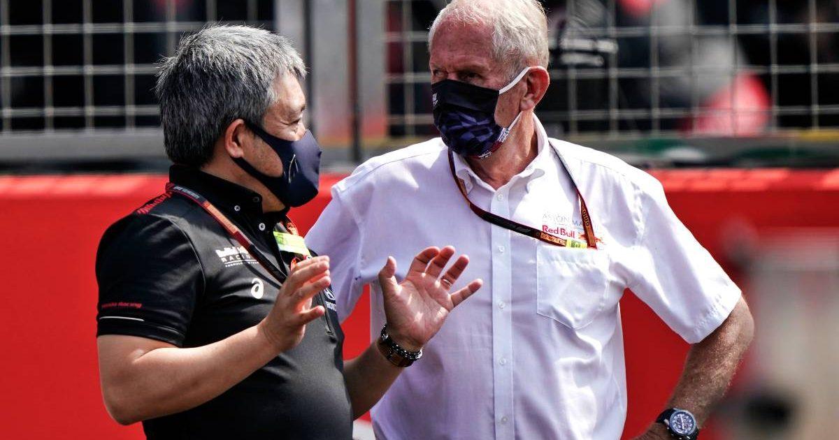 Masashi Yamamoto talks to Helmut Marko. Silverstone August 2020.