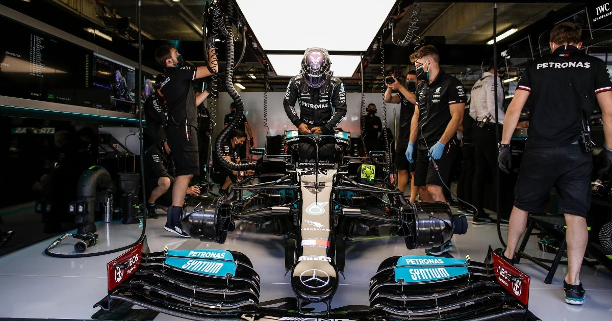 Mercedes driver Lewis Hamilton getting into his car at Paul Ricard. France April 2021