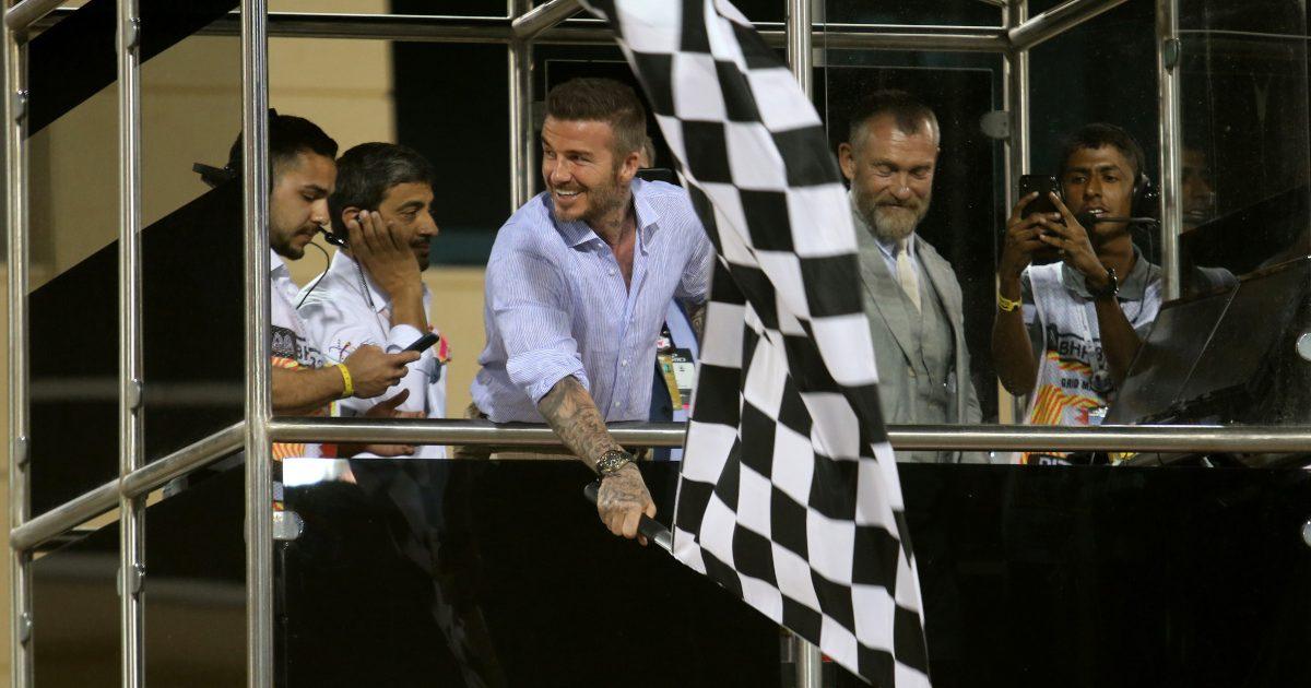David Beckham waves the chequered flag. Bahrain March 2019