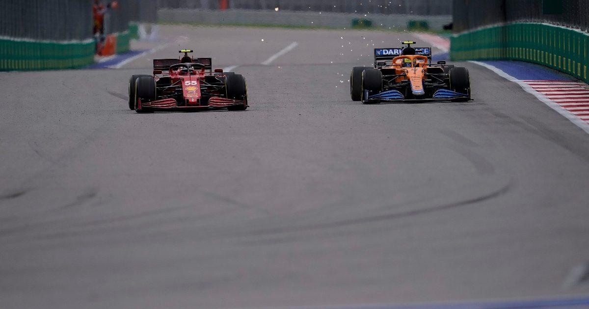 Lando Norris and Carlos Sainz racing at Sochi. Russia September 2021