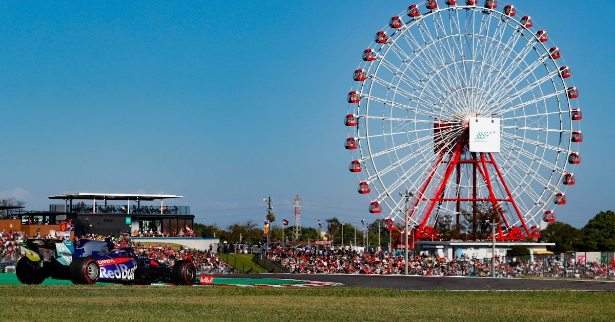 Pierre Gasly driving past the Ferris wheel at Suzuka. Japan October 2019
