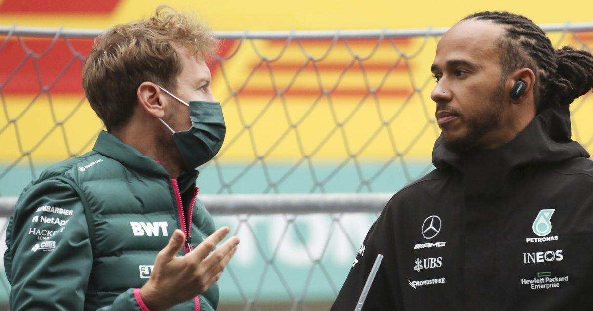 Sebastian Vettel with Lewis Hamilton. Russia September 2021