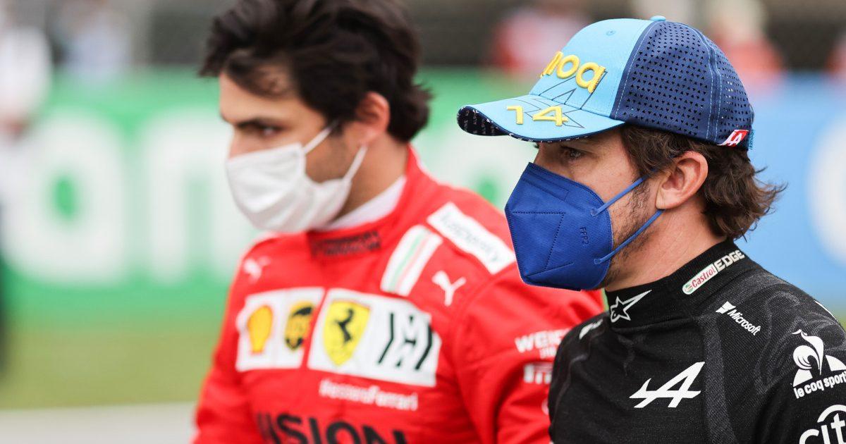 Carlos Sainz walking with Fernando Alonso. Spain May 2021