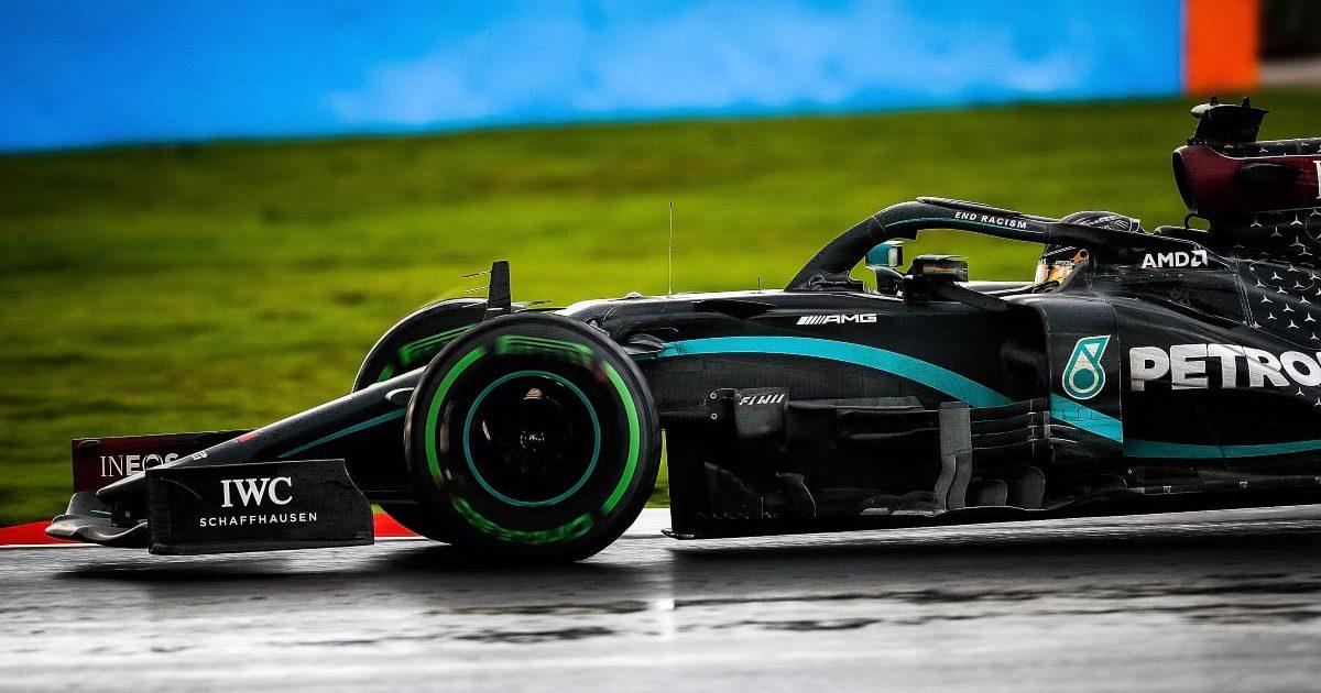 Lewis Hamilton in the wet in 2020 in Turkey.