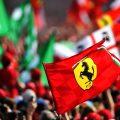 A Ferrari flag waving at Monza. Italy September 2019