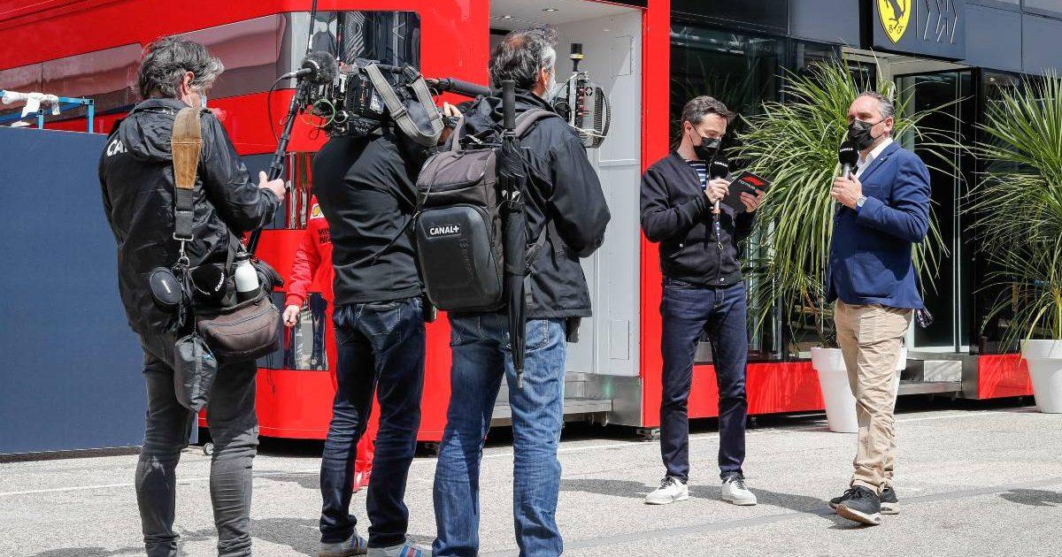 A TV crew films in the paddock at the Emilia Romagna GP. Imola April 2021.