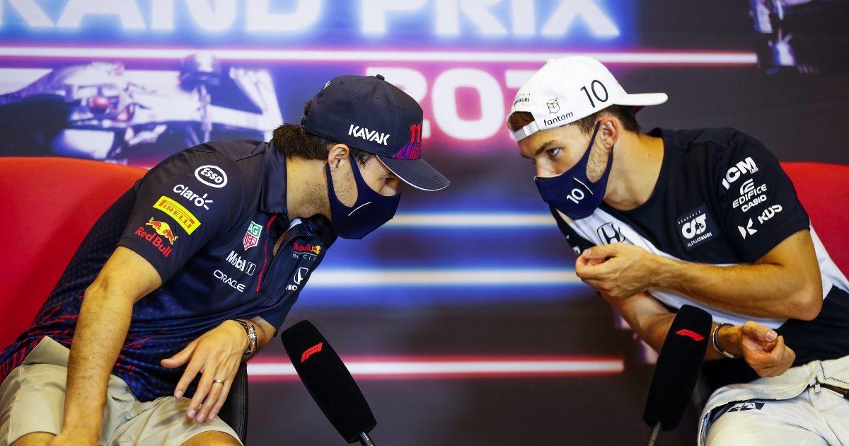 Sergio Perez and Pierre Gasly talking. Azerbaijan June 2021