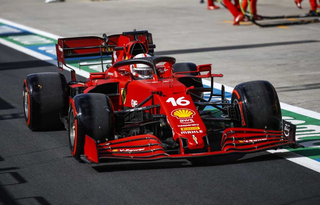 Ferrari driver Charles Leclerc leaves the pit lane in Turkey. October 2021.