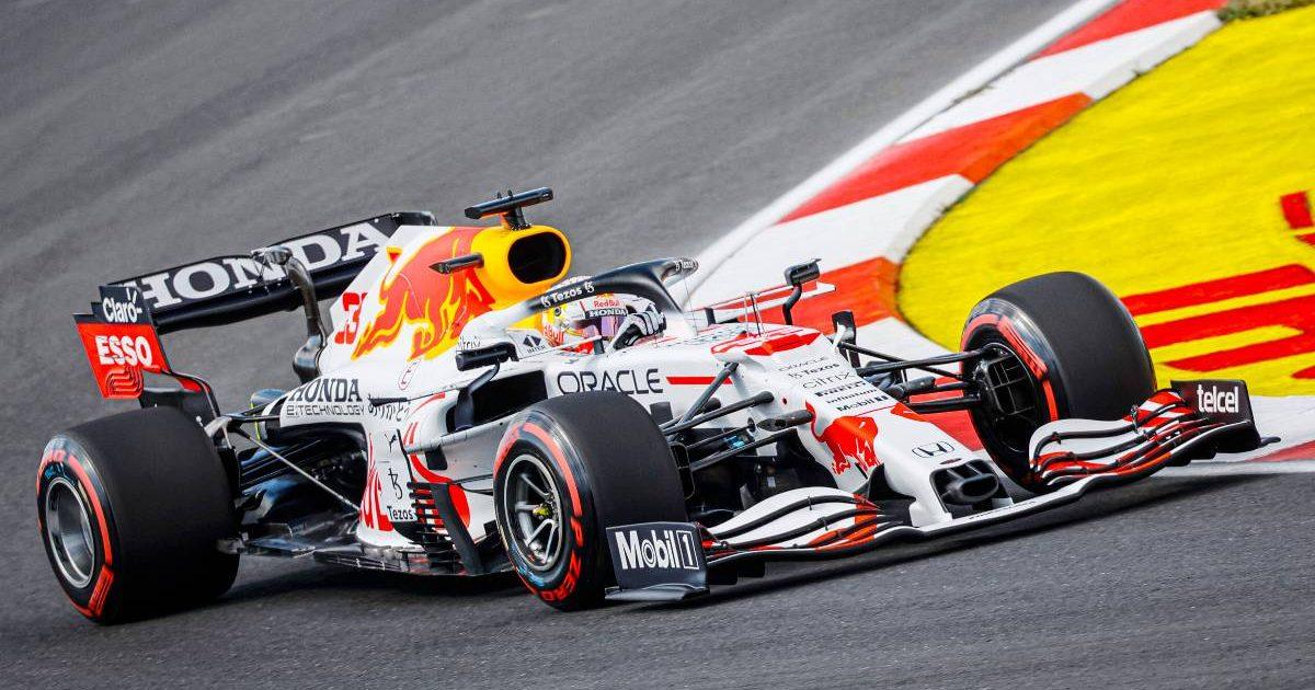 Max Verstappen in the Honda-inspired Red Bull livery. Turkey, October 2021.