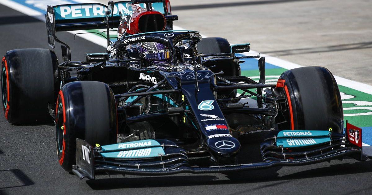 Lewis Hamilton, Mercedes, in the pit lane. Turkey, October 2021.