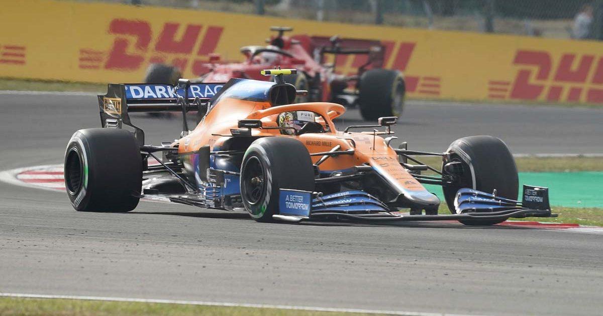 Lando Norris drives his McLaren through Turn 8 at Turkey. October 2021.