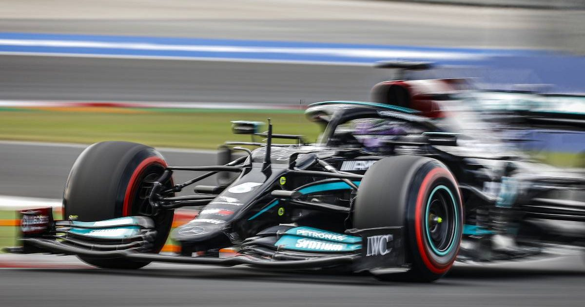 Lewis Hamilton's Mercedes during practice for the Turkish GP. Istanbul October 2021.