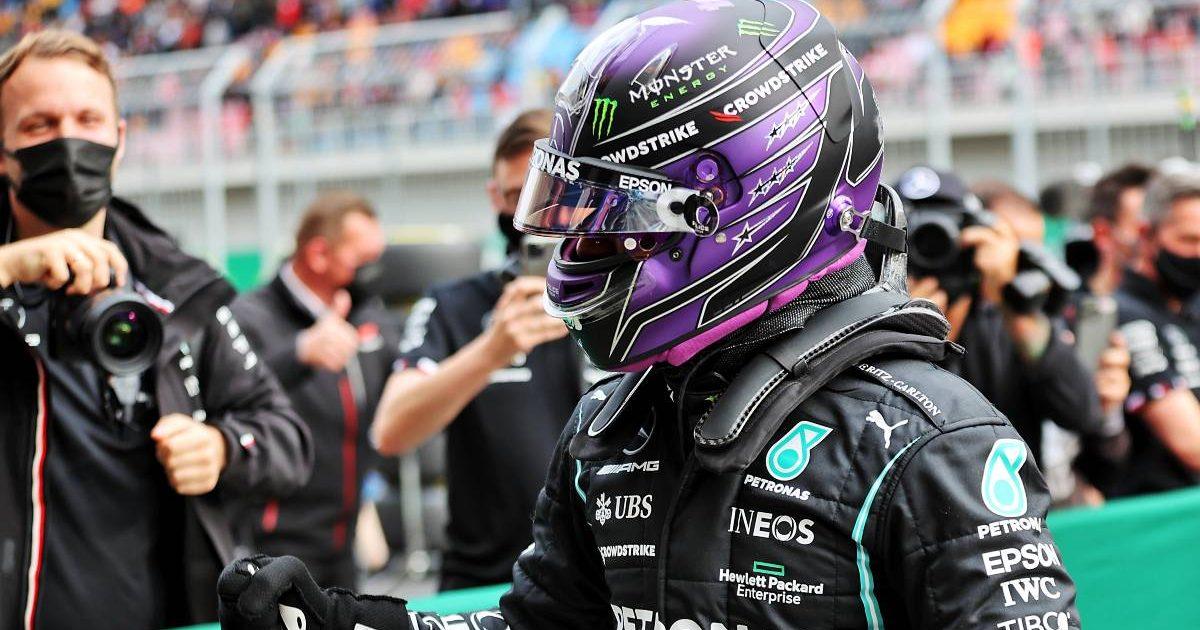 Lewis Hamilton, Mercedes, celebrates his fastest time of Turkey qualifying. October 2021.