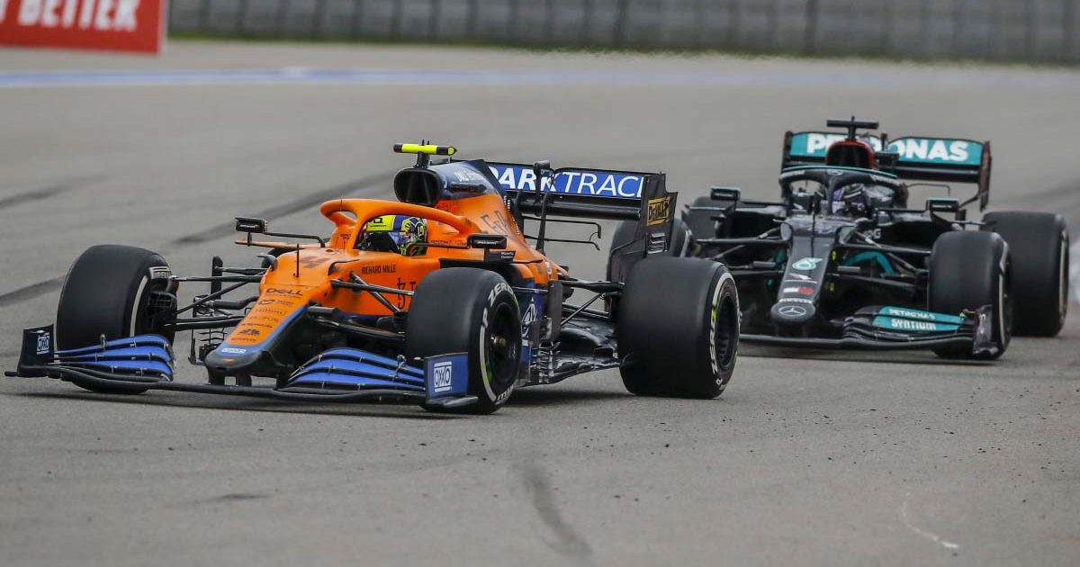 Lando Norris leads Lewis Hamilton. Russia September 2021.