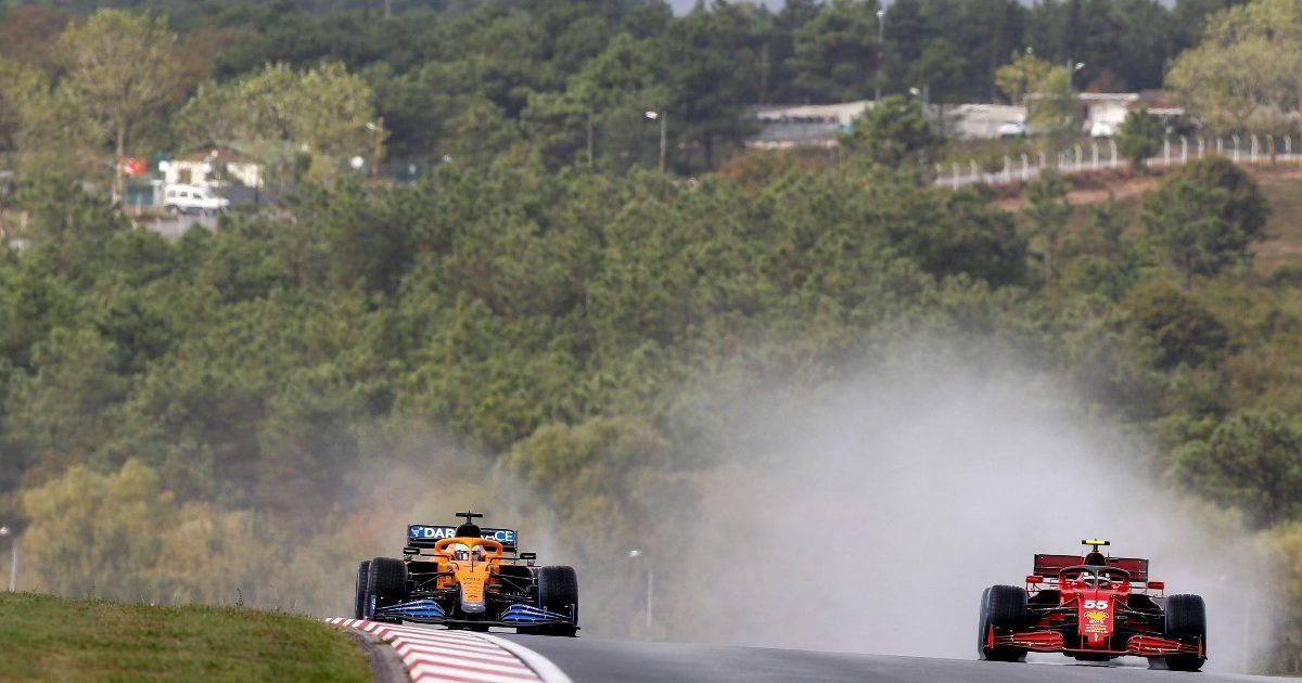 Daniel Ricciardo [McLaren] and Carlos Sainz [Ferrari] in-line. Turkey, October 2021.