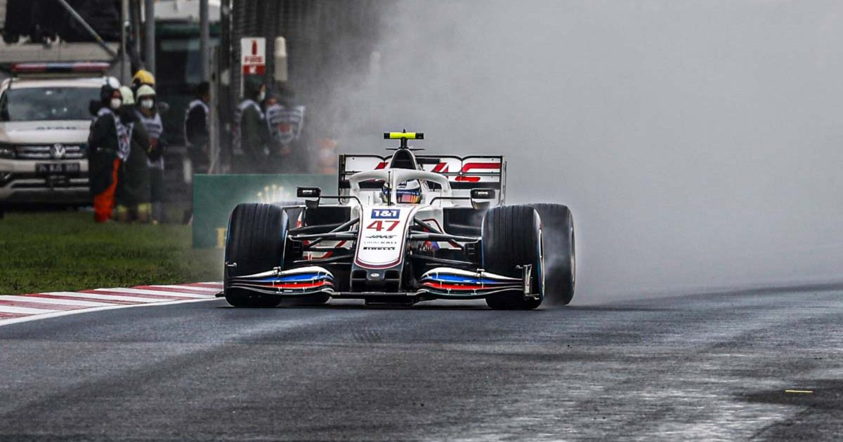 Mick Schumacher drives in the wet. Istanbul October 2021.