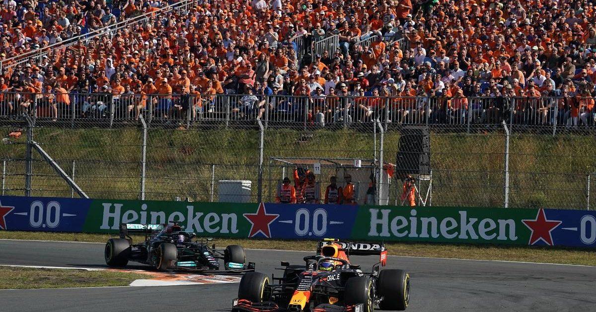 Lewis Hamilton chases Sergio Perez during the Dutch GP. Zandvoort September 2021.